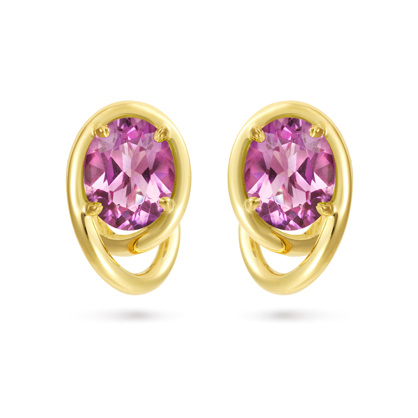 Contour Swirl Oval Amethyst Gemstones and Yellow Gold Earrings by Diana Vincent