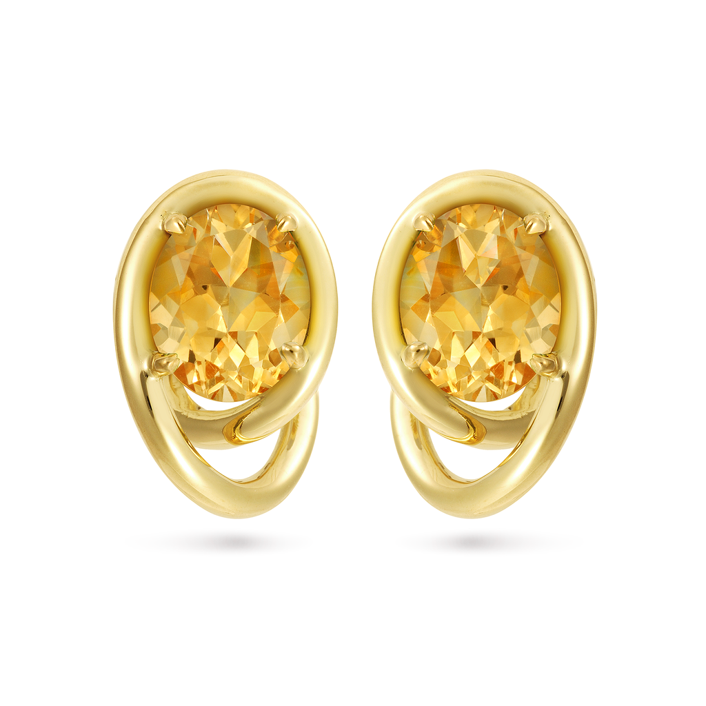 Contour Swirl Citrine Gemstones and Yellow Gold Earrings by Diana Vincent