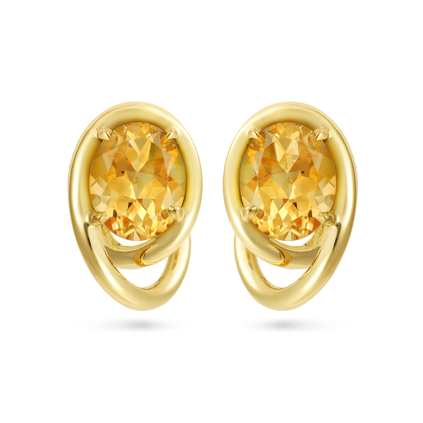 Contour Swirl Citrine and Yellow Gold Earrings