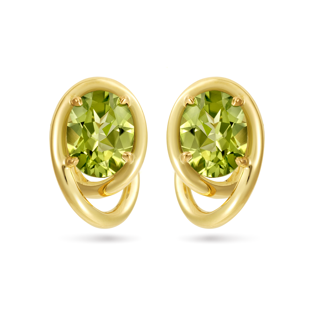 Contour Swirl Peridot Gemstones and Yellow Gold Earrings by Diana Vincent