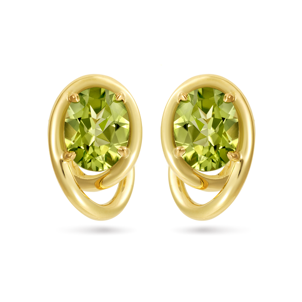 Contour Swirl Peridot and Yellow Gold Earrings