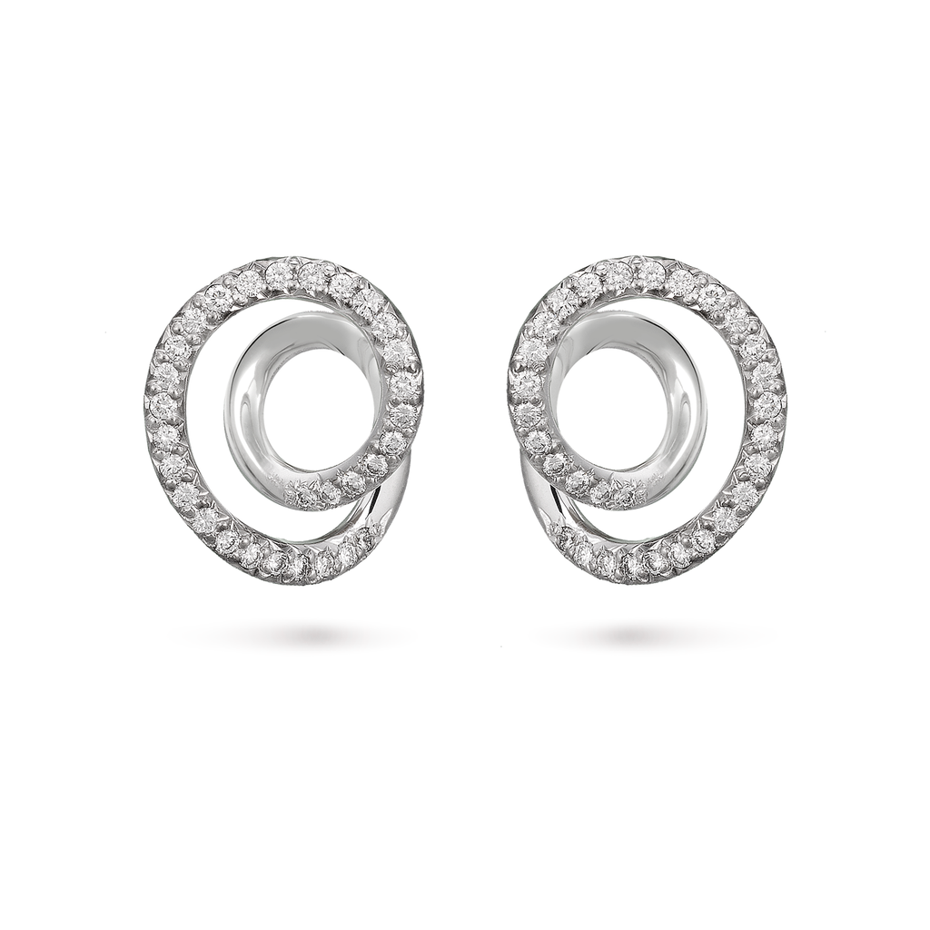 Contour Small Diamond and White Gold Swirl Earrings by Diana Vincent