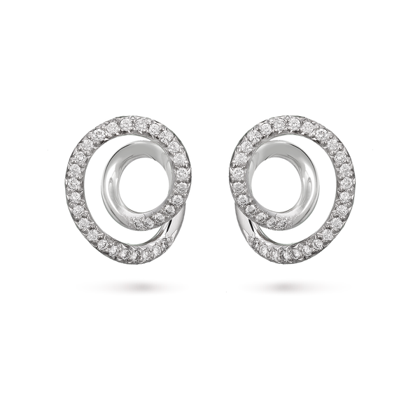 Contour Small Diamond and White Gold Swirl Earrings