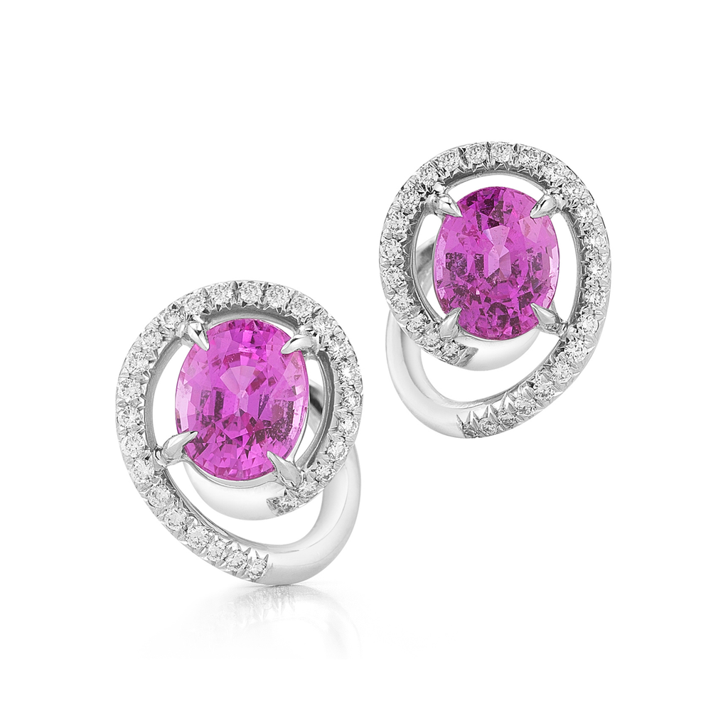 Contour Pink Sapphire Gemstone & Diamond Swirl Earrings by Diana Vincent