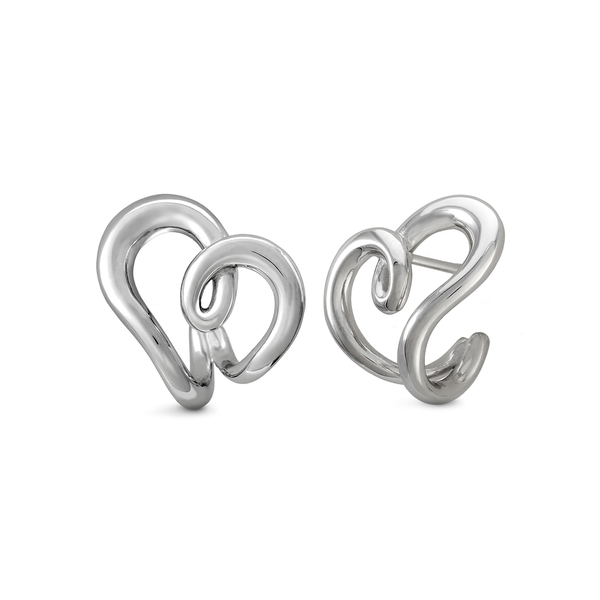 Heart Love Design Earrings in White Gold by Diana Vincent