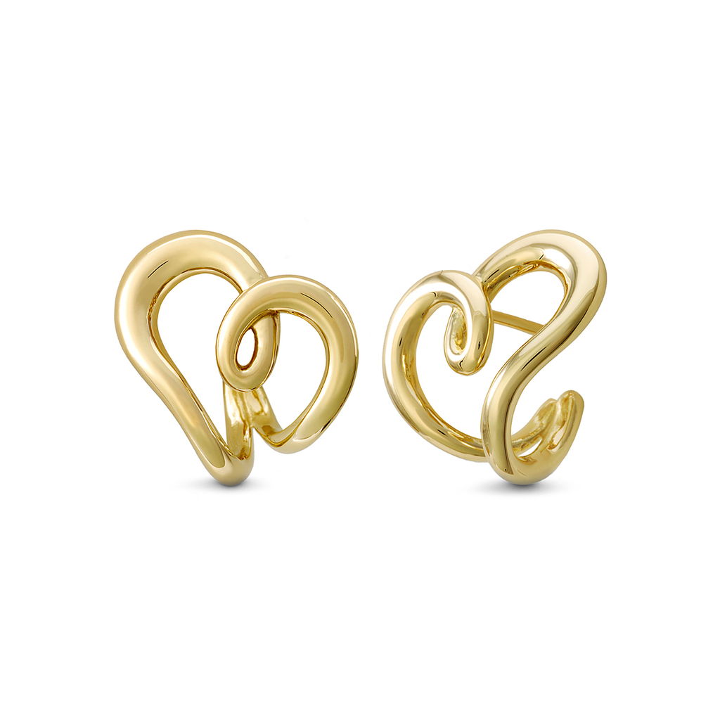 Heart Love Design Earrings in Yellow Gold by Diana Vincent