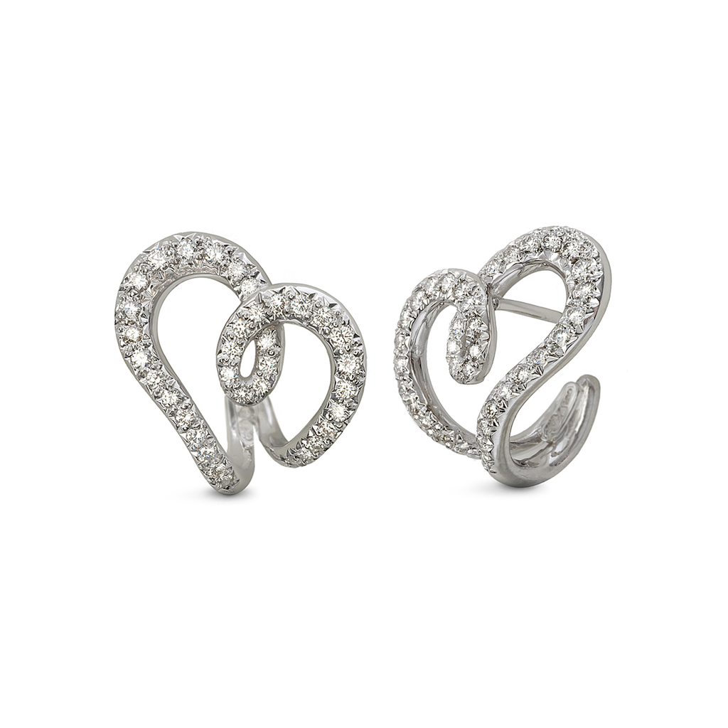 Heart Love Design Diamond and White Gold Earrings by Diana Vincent