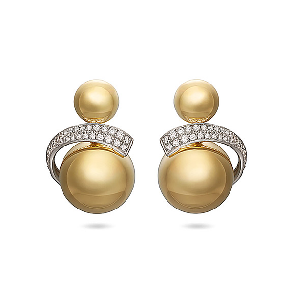 Contour Sphere Diamond and Yellow Gold Earrings