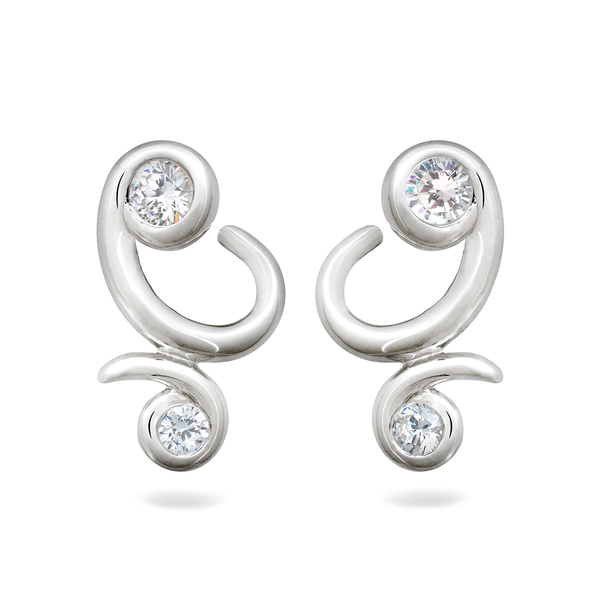 Diana Vincent Contour Sterling Silver Bossa Nova Diamond Earrings