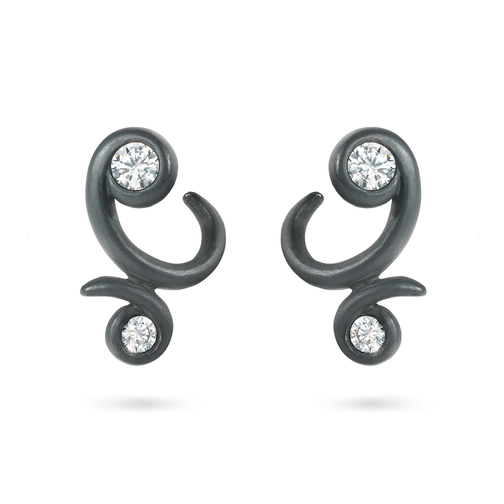 Contour Bossa Nova Diamond and Black Oxidized Sterling Silver Earrings by Diana Vincent