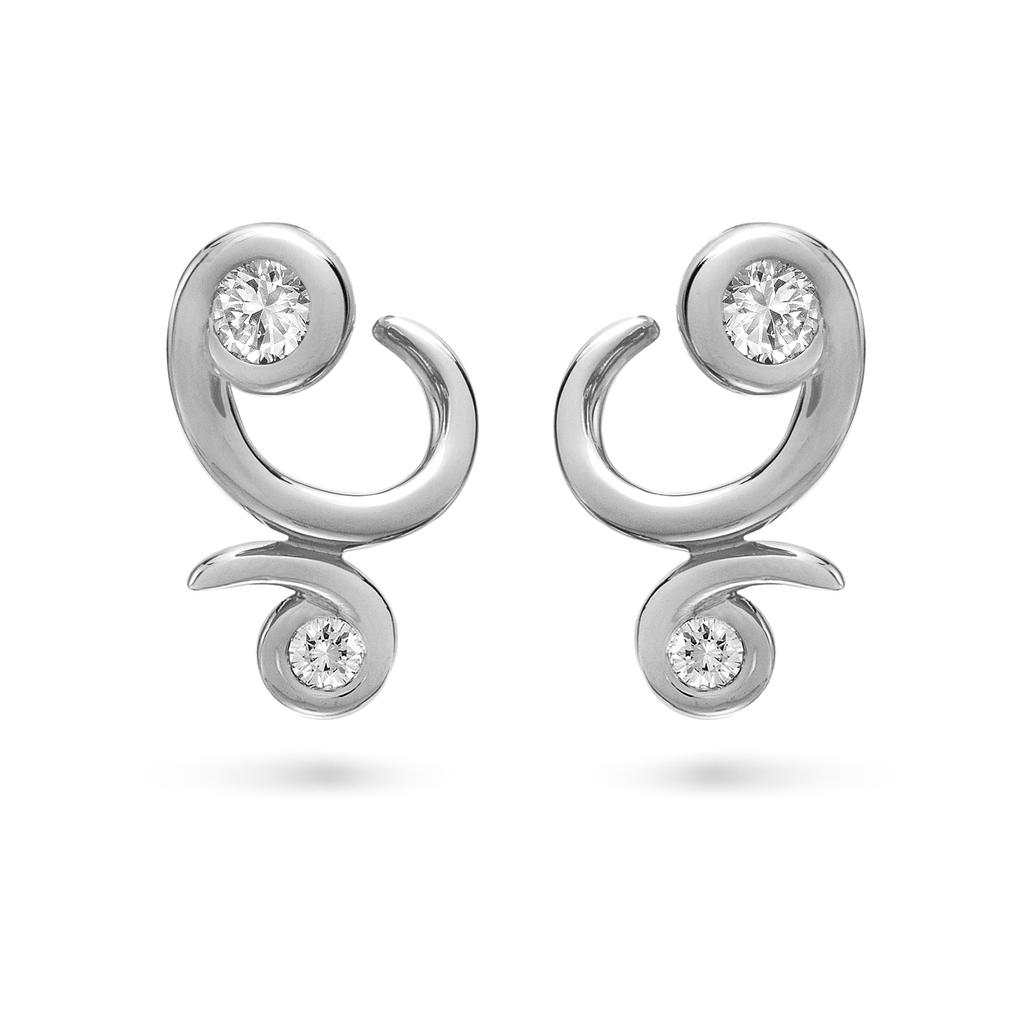 Contour Bossa Nova Diamond and White Gold Earrings by Diana Vincent