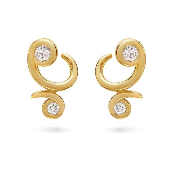 Diana Vincent Contour Yellow Gold And Diamond Bossa Nova Earrings