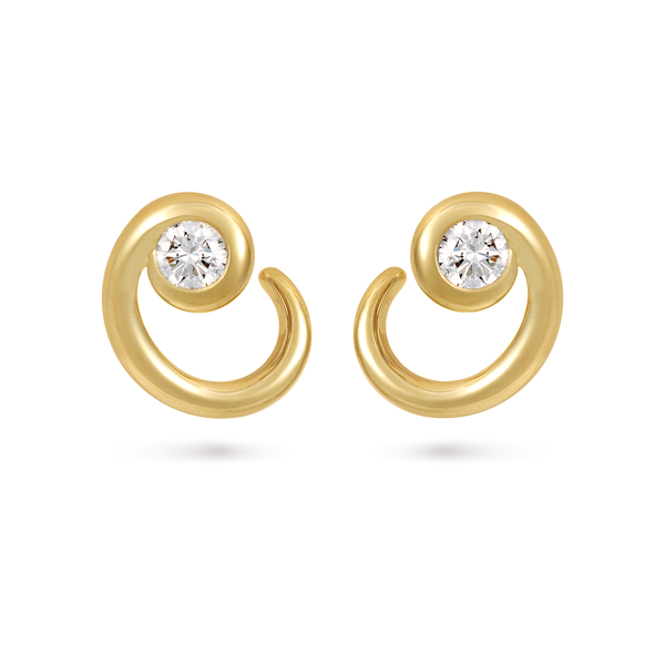 Contour Diamond and Yellow Gold Wrap Earrings