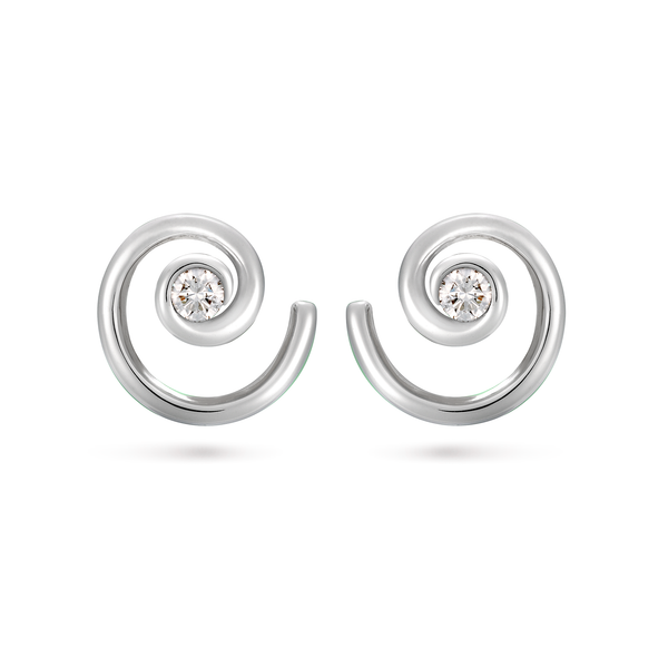 Contour Diamond and White Gold Curled Earrings