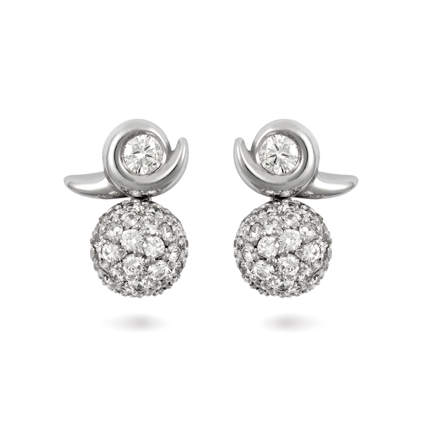 Contour Pave Ball Diamond and White Gold Earrings by Diana Vincent