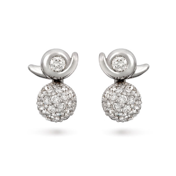 Contour Pave Ball Diamond and White Gold Earrings