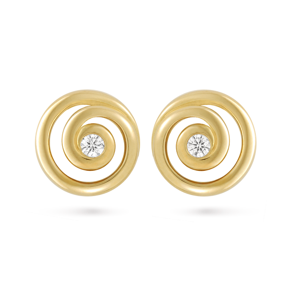 Contour Diamond and Yellow Gold Spiral Earrings