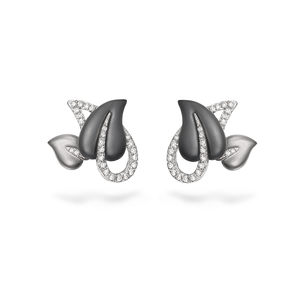 Leaf Diamond Black and White Gold Earrings by Diana Vincent