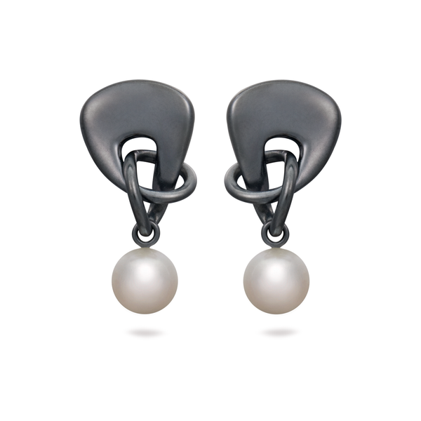 Twizzle Bombay Pearl Dangle and Black Oxidized Sterling Silver Earrings by Diana Vincent