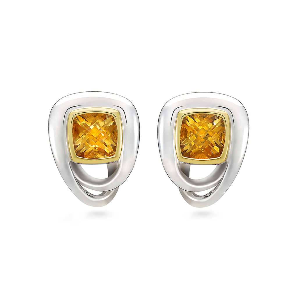 Unique Twizzle Bombay Citrine Gemstone and Sterling Silver Earrings by Diana Vincent