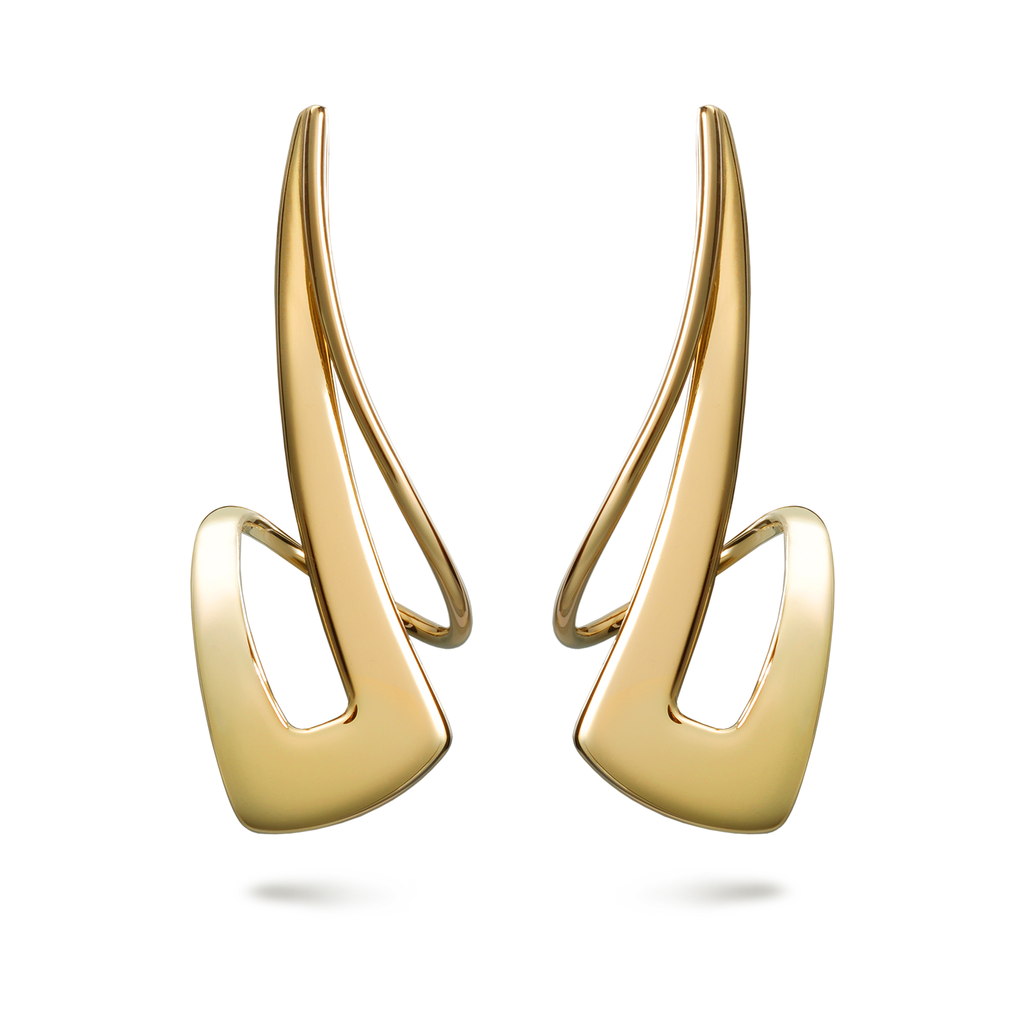 Twizzle Dynamic Streak Design Large Yellow Gold Earrings by Diana Vincent