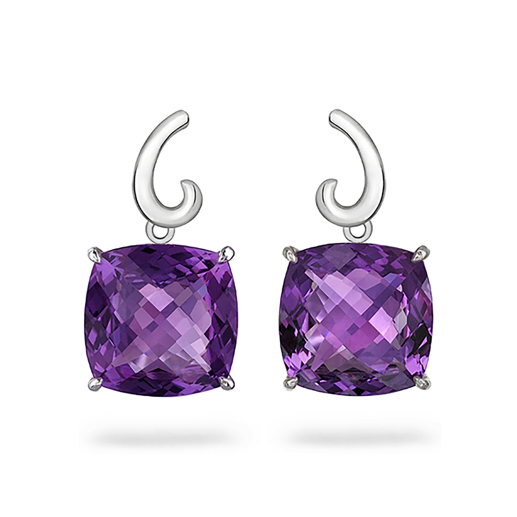 Contour Large Cushion Amethyst Gemstone and Sterling Silver Earrings by Diana Vincent