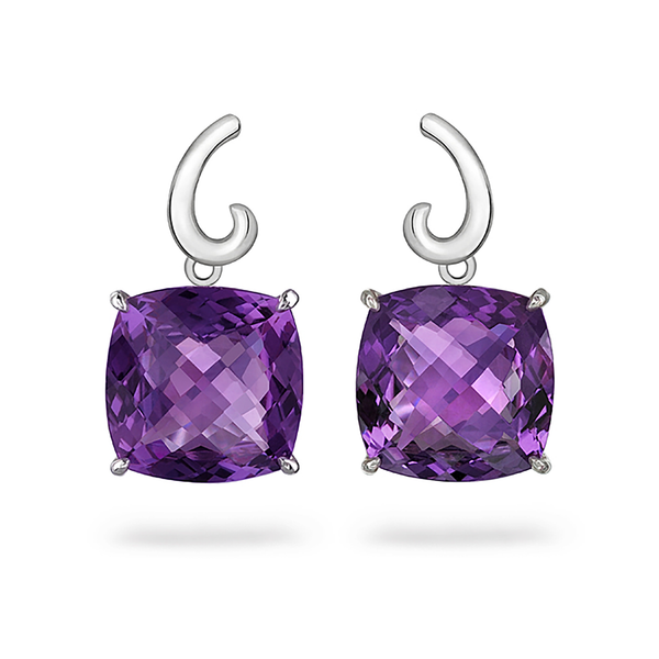 Contour Small Cushion Amethyst Gemstones and Sterling Silver Earrings by Diana Vincent
