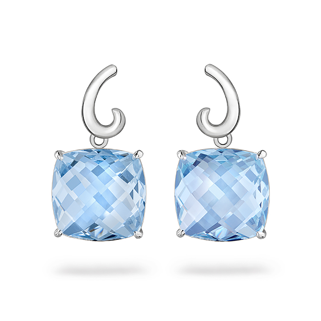 Contour Small Cushion Blue Topaz Gemstone and Sterling Silver Earrings by Diana Vincent
