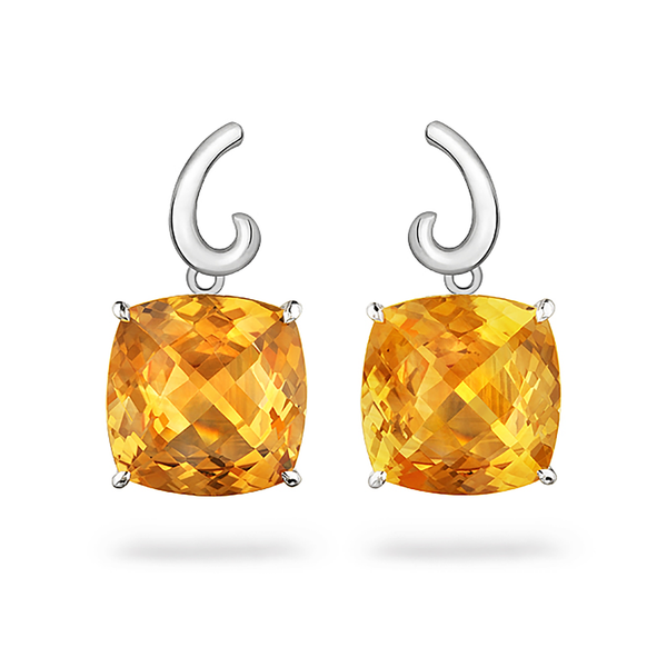 Contour Small Cushion Citrine Gemstone and Sterling Silver Earrings by Diana Vincent