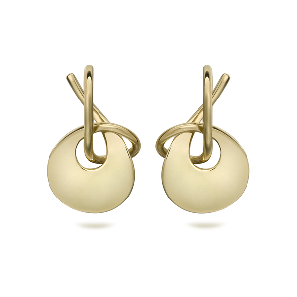 Twizzle Bombay Round Twist Design Yellow Gold Earrings by Diana Vincent
