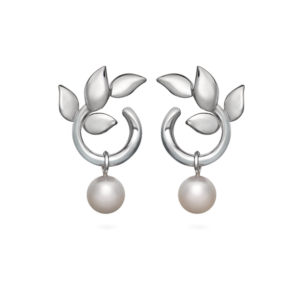 Leaf Pearl and Sterling Silver Earring by Diana Vincent