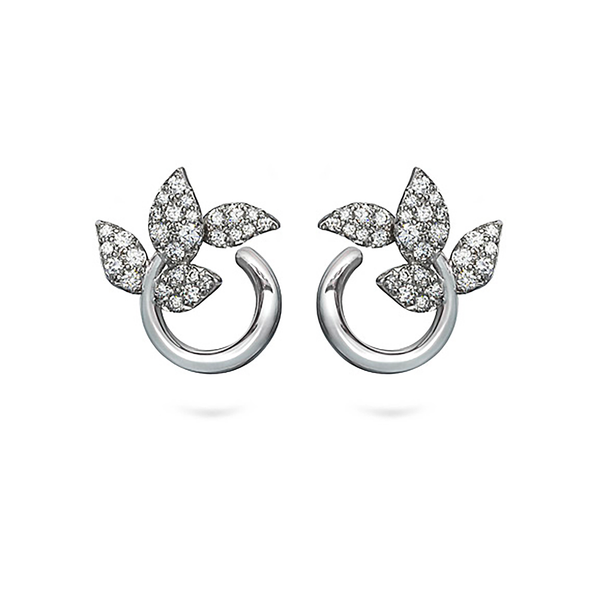 Leaf Diamond and White Gold Earrings by Diana Vincent