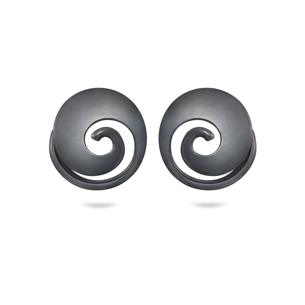 Twizzle Spiral and Swirl Black Oxidized Sterling Silver Earrings by Diana Vincent