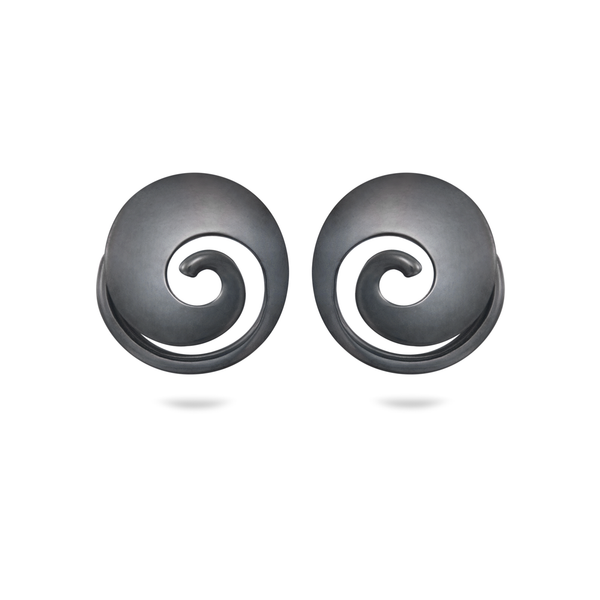 Twizzle Spiral Oxidized Sterling Silver Earrings