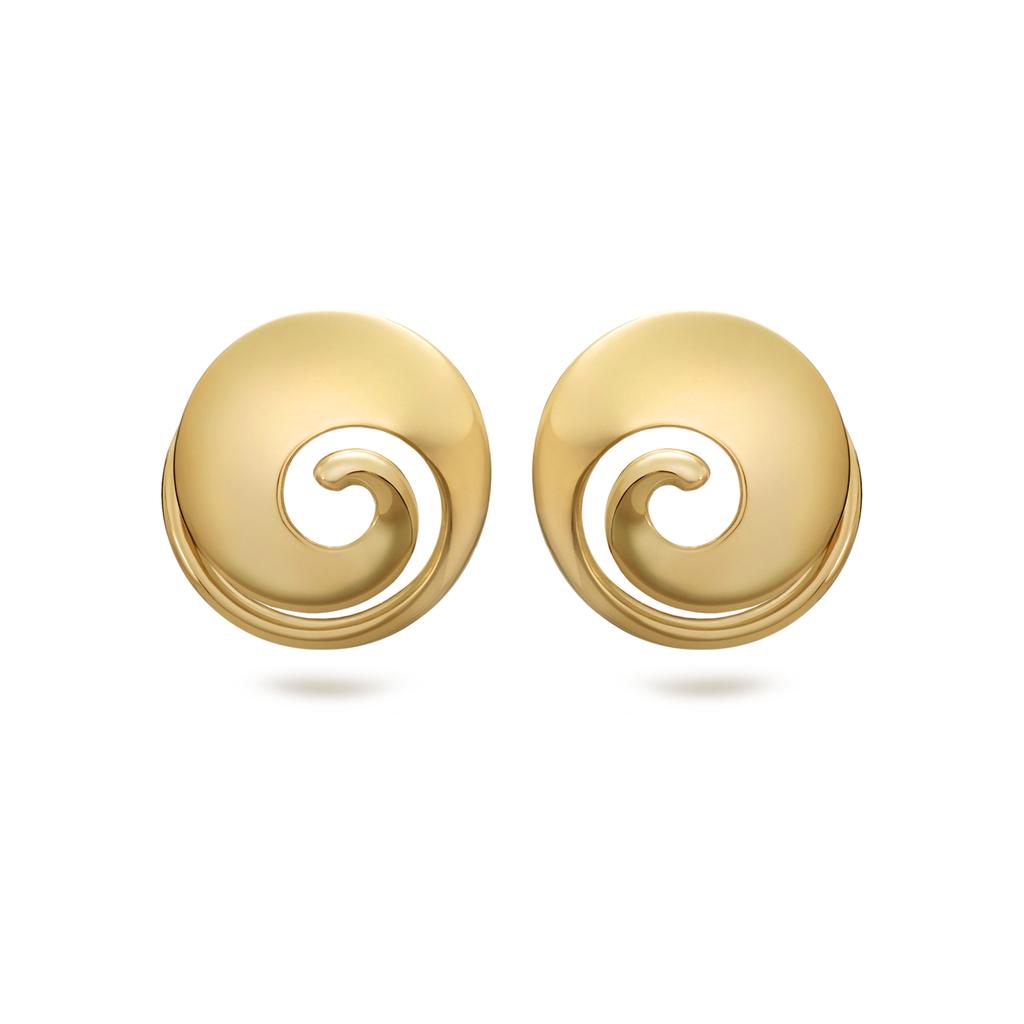 Twizzle Spiral Swirl Yellow Gold Earrings by Diana Vincent