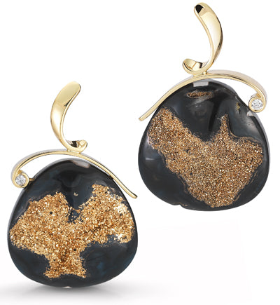 Black Druzy Quartz and Diamond Earrings