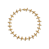 Leaf Diamond and Yellow Gold Link Necklace