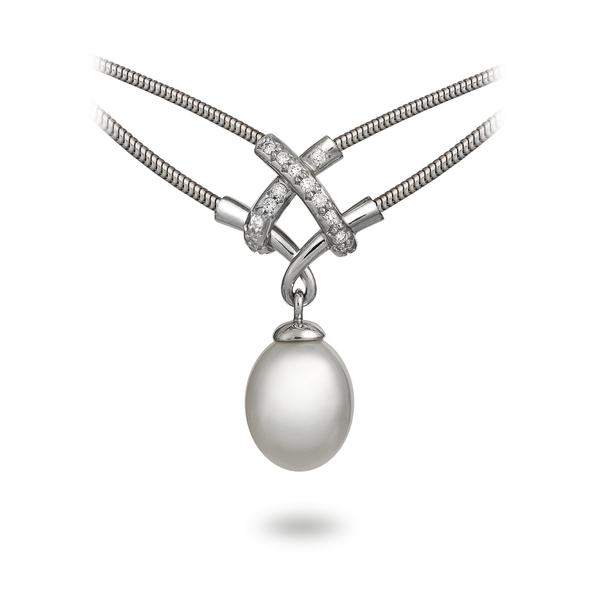 Girl Interrupted South Sea Pearl Pendant White Gold Necklace by Diana Vincent