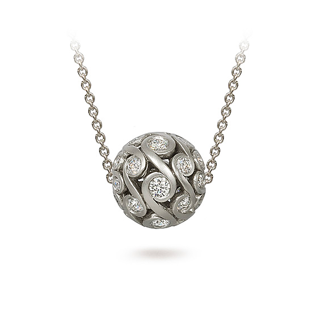 Contour Diamond and White Gold Sphere Pendant Necklace by Diana Vincent