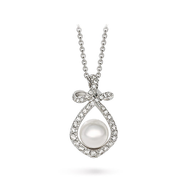 Dancing Twizzle Akoya Pearl and White Gold Pendant by Diana Vincent