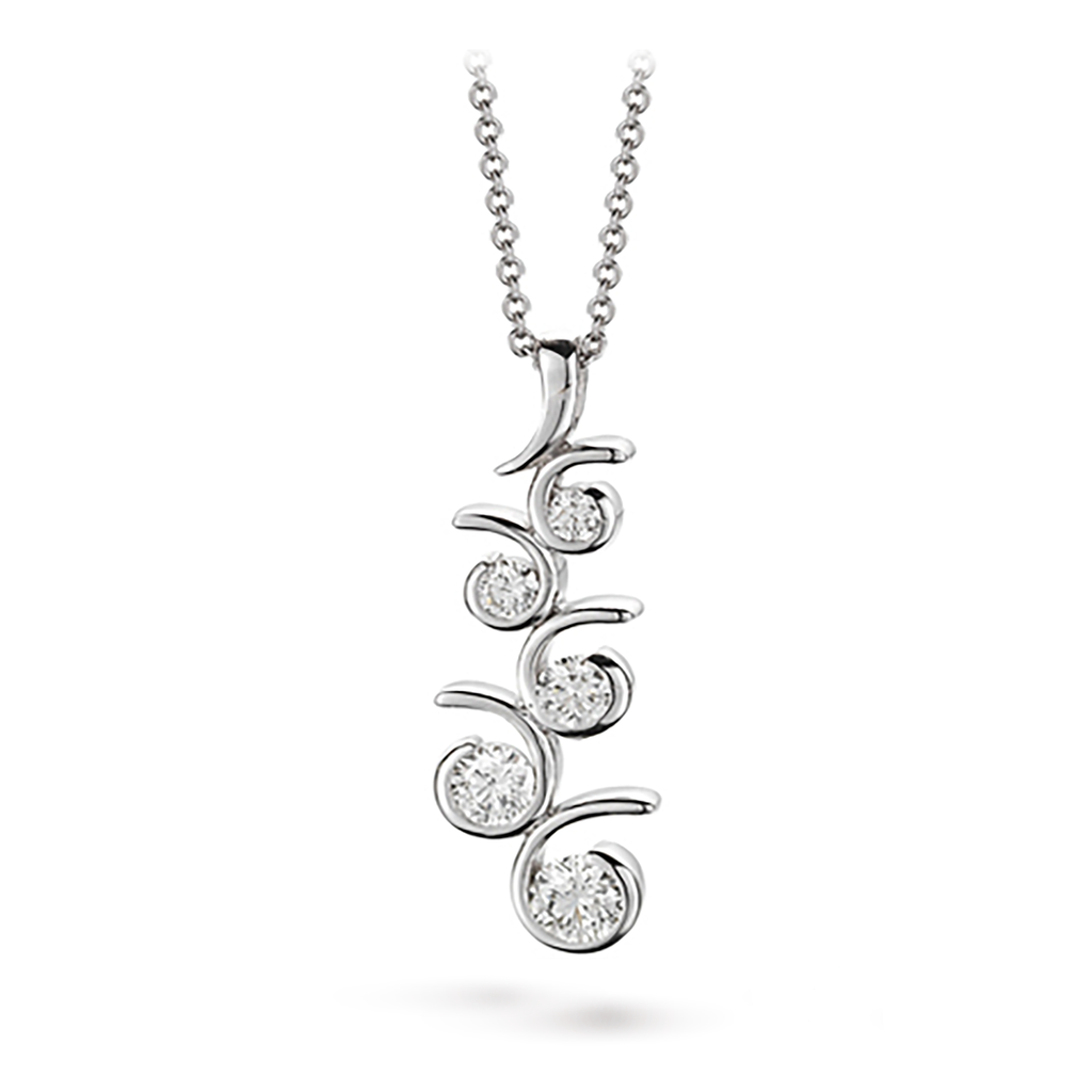 Contour Large Diamonds and White Gold Journey Pendant Necklace by Diana Vincent
