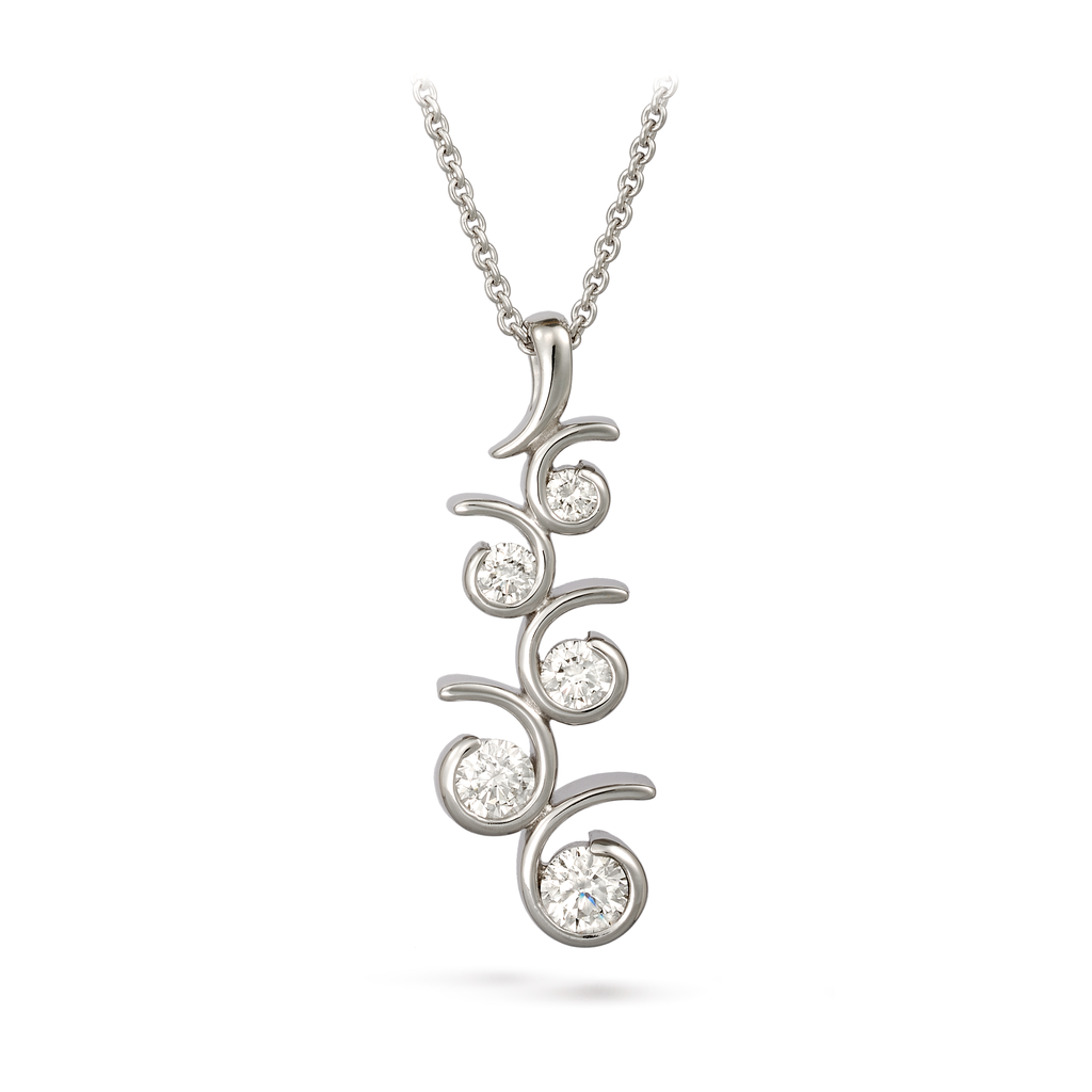 Contour Small Diamonds and White Gold Journey Pendant Necklace by Diana Vincent