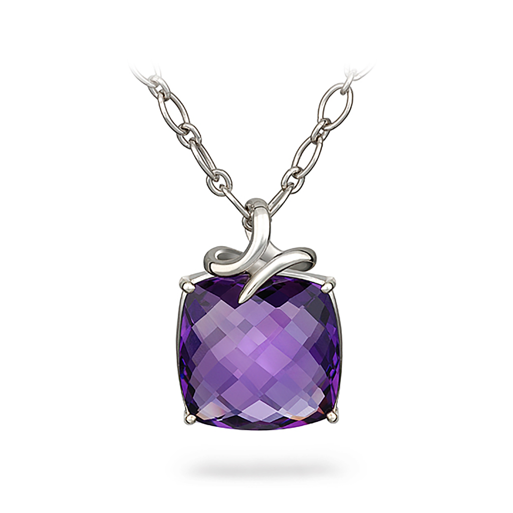 Dancing Twizzle Cushion Amethyst and Sterling Silver Pendant Necklace by Diana Vincent