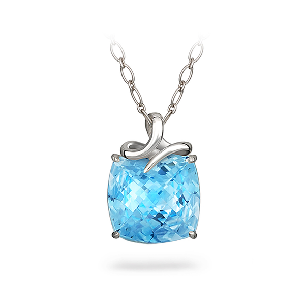 Dancing Twizzle Cushion Blue Topaz and Sterling Silver Pendant Necklace by Diana Vincent