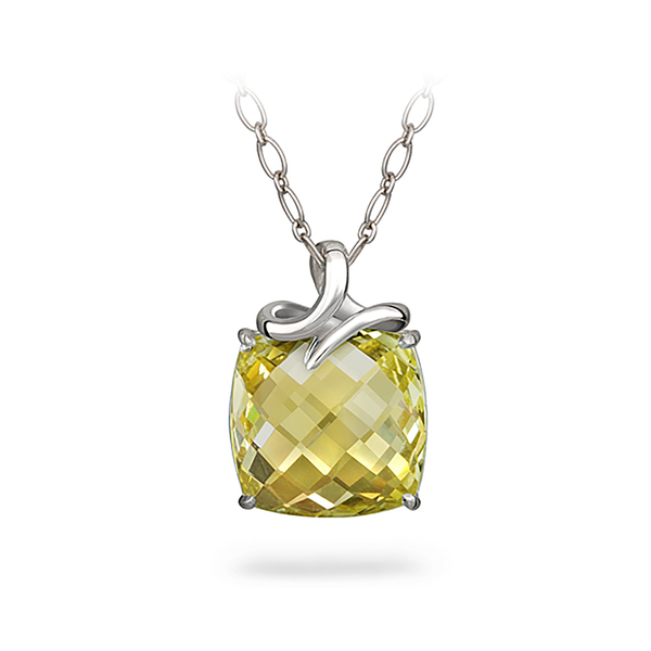 Dancing Twizzle Lemon Quartz Gemstone and Sterling Silver Pendant Necklace by Diana Vincent