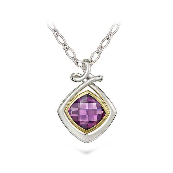 Dancing Twizzle Amethyst Gemstone and Sterling Silver Pendant Necklace by Diana Vincent