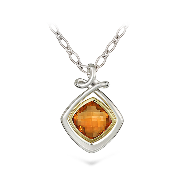 Dancing Twizzle Citrine Gemstone and Sterling Silver Pendant Necklace by Diana Vincent