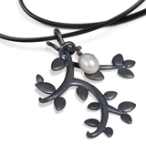 Leaf Large Pearl and Oxidized Sterling Silver Pendant