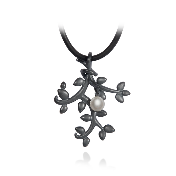 Leaf Nature Inspired Small Pearl and Oxidized Sterling Silver Pendant by Diana Vincent