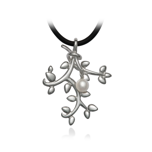 Leaf Nature Inspired Pearl and Sterling Silver Pendant Necklace by Diana Vincent